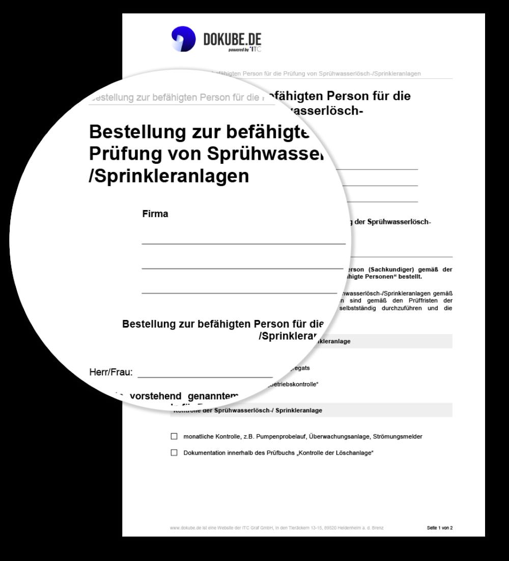Bestellung zur befähigten Person für die Prüfung von Sprühwasserlösch-/Sprinkleranlagen