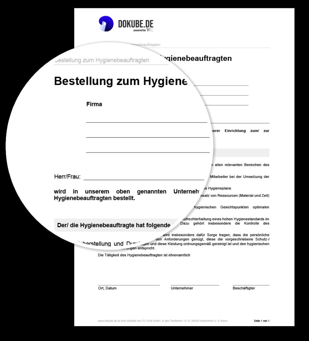 Bestellung zum Hygienebeauftragten