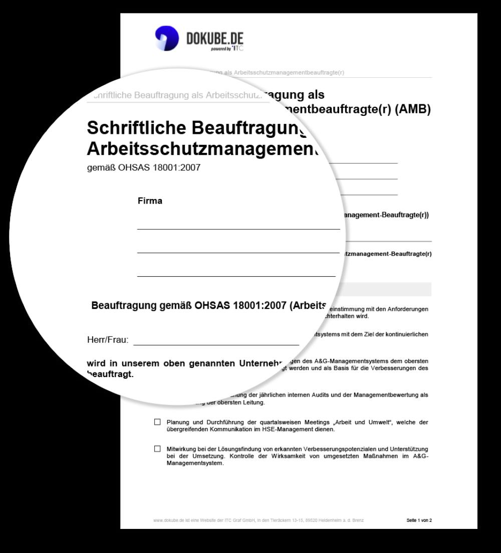 Schriftliche Beauftragung als Arbeitsschutzmanagementbeauftragte(r) (AMB)
