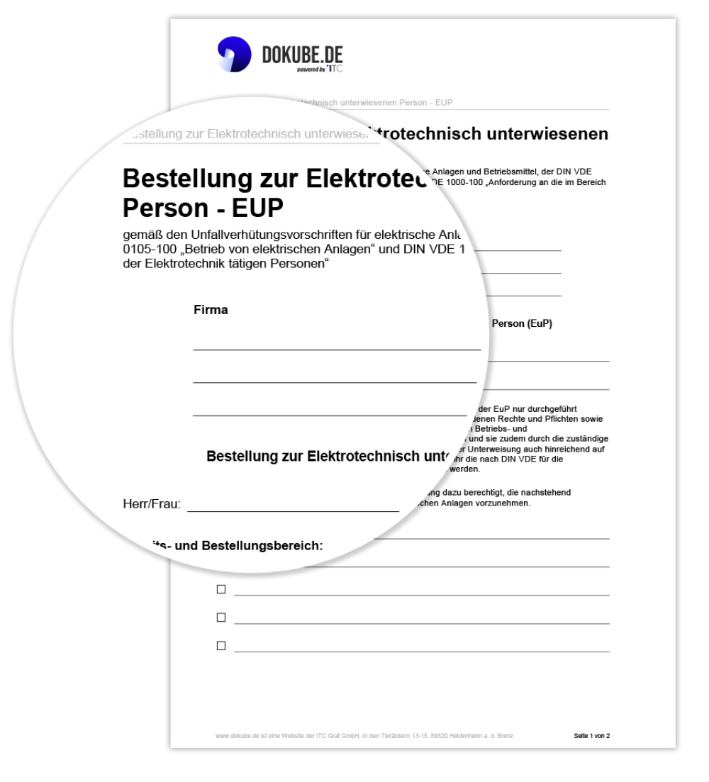 Bestellung zur Elektrotechnisch unterwiesenen Person (EuP)