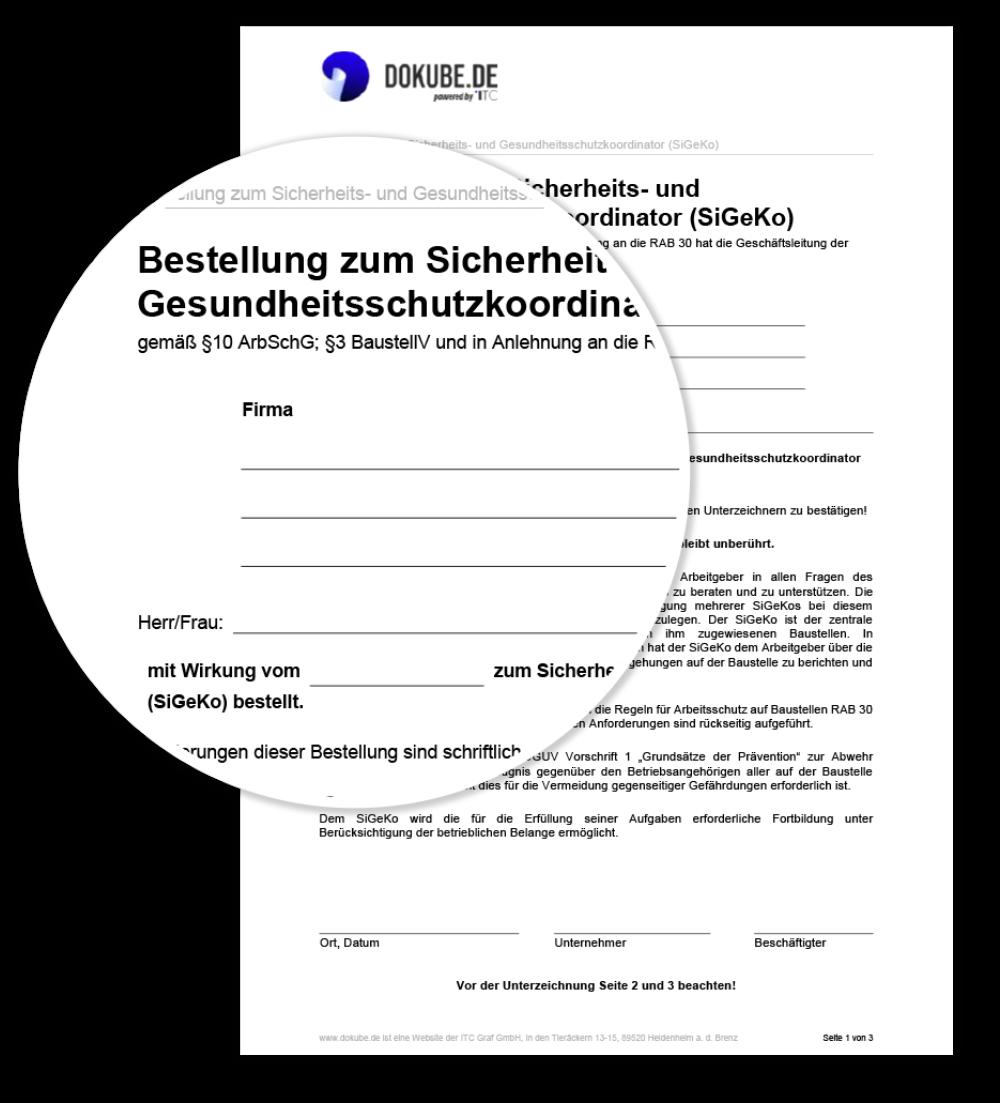 Bestellung zum Sicherheits- und Gesundheitsschutzkoordinator (SiGeKo)